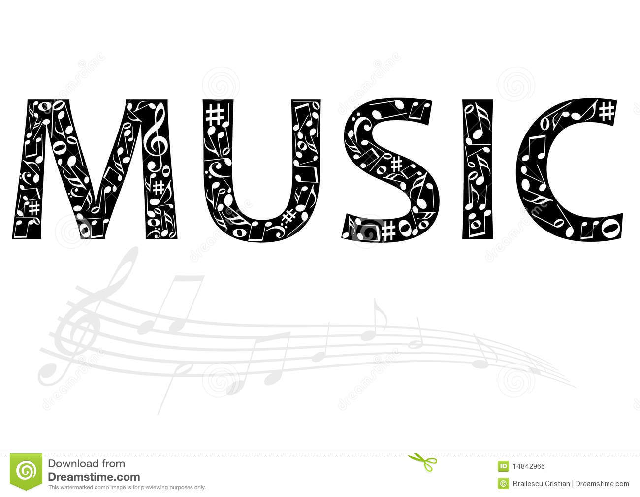 Abstract Illustration Of The Music Word With Music Royalty Free.