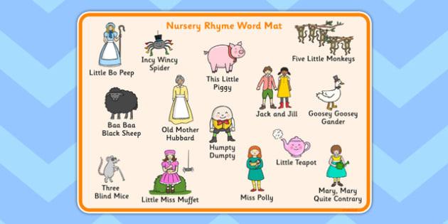 Nursery Rhyme Word Mat.