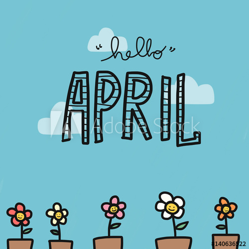 Hello April word and flower pot watercolor painting.