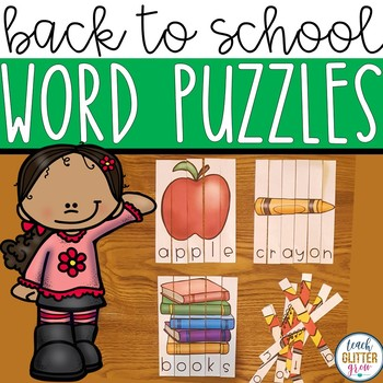 Back to School Word Puzzles (Center Activity and Worksheet).