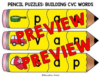 BACK TO SCHOOL ACTIVITY 1ST GRADE (BUILD CVC WORD PUZZLE CENTER  KINDERGARTEN).