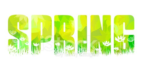 The word Spring made with fresh green leaves and flowers.