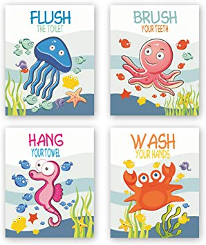 Unframed Ocean Animals Art Print Adorable Jellyfish Octopus Seahorse Crab  Wall Art Painting,Set of 4(8\'\'x10\'\') Canvas Funny Lettering Poster for Kids.