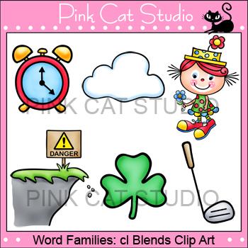 Word Families: cl Blends Clip Art.