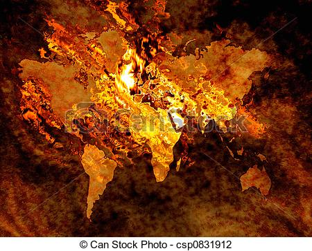 Clip Art of map of the world on fire and burning csp0831912.