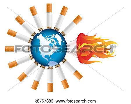 Drawing of Cigarette burning the world k8767383.