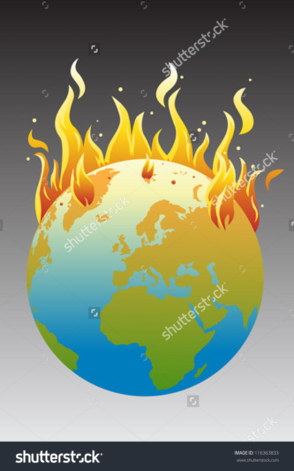 Vector Illustration Burning Earth Global Warming Stock Vector.