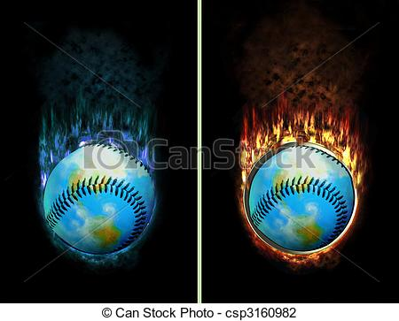 Clip Art of Ice Fire Baseball Button.