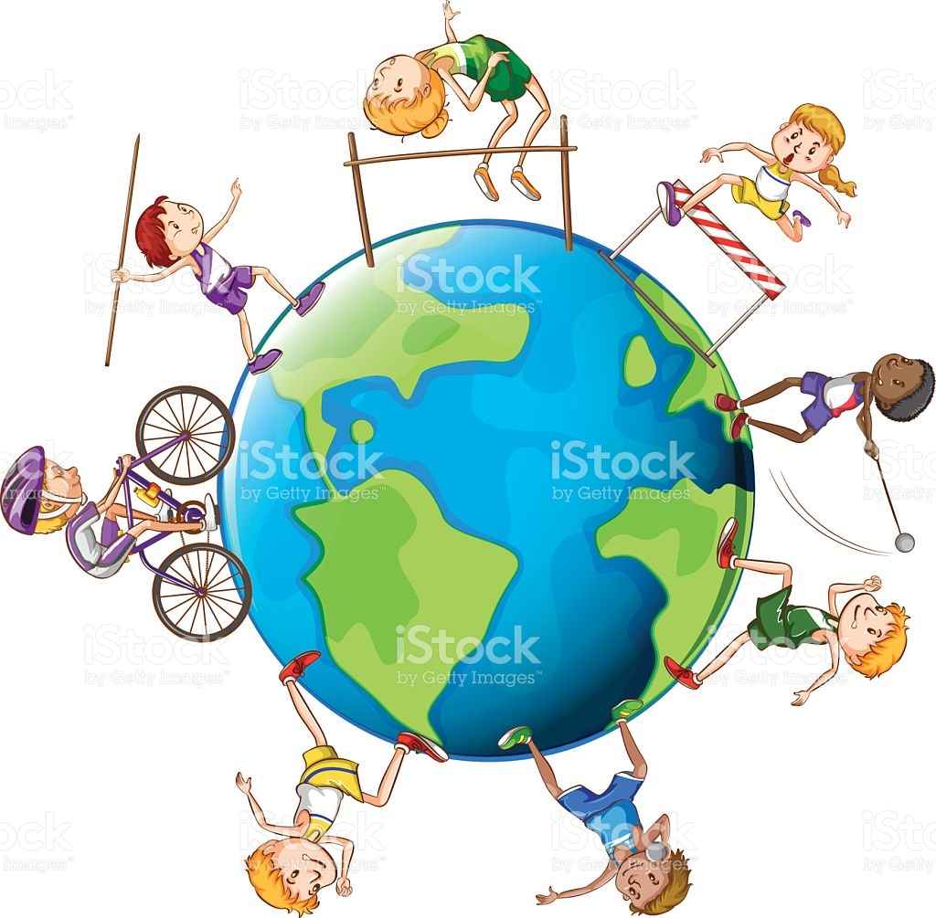 Different Kinds Of Sports Around The World stock vector art.