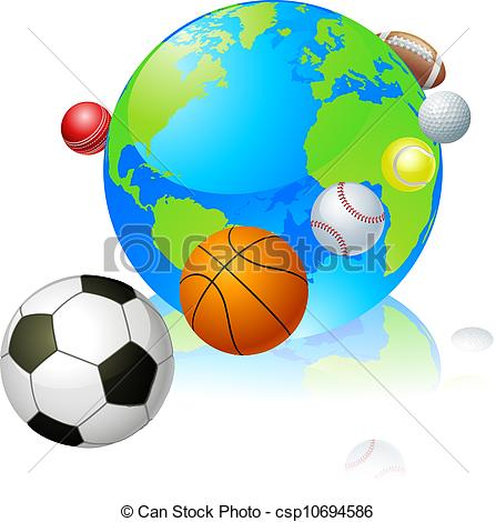 Vector of Sports globe world concept, a globe with different.