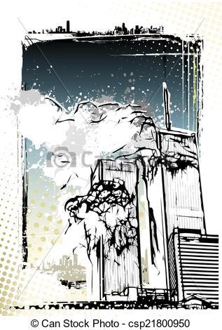 Clipart Vector of World Trade Center destruction illustration.