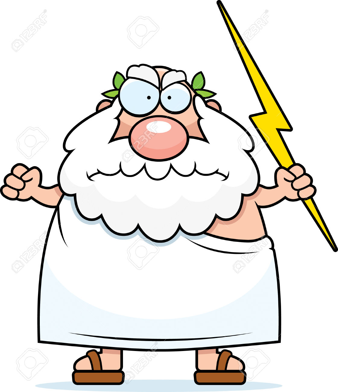 A Cartoon Greek God With An Angry Expression. Royalty Free.