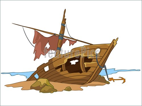 Ship Crash Clip Art.