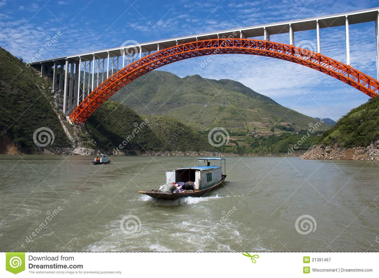 Peapod Water Taxi Boat Yangtze River, China Travel Royalty Free.