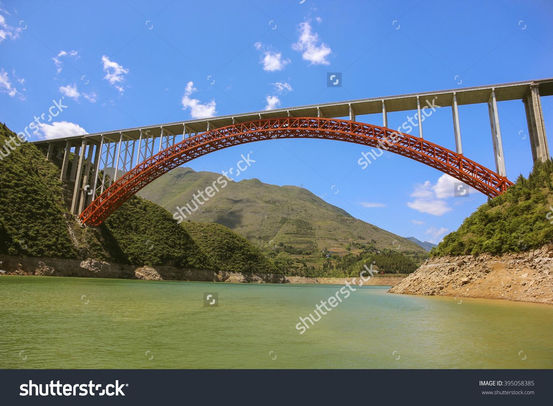 Bridge On Yangtze River Three Gorges Stock Photo 395058385.