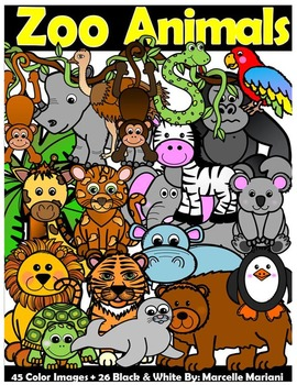 ANIMALS CLIPART BUNDLE: FARM clipart, ZOO Clipart, SEA LIFE animals CLIP ART.