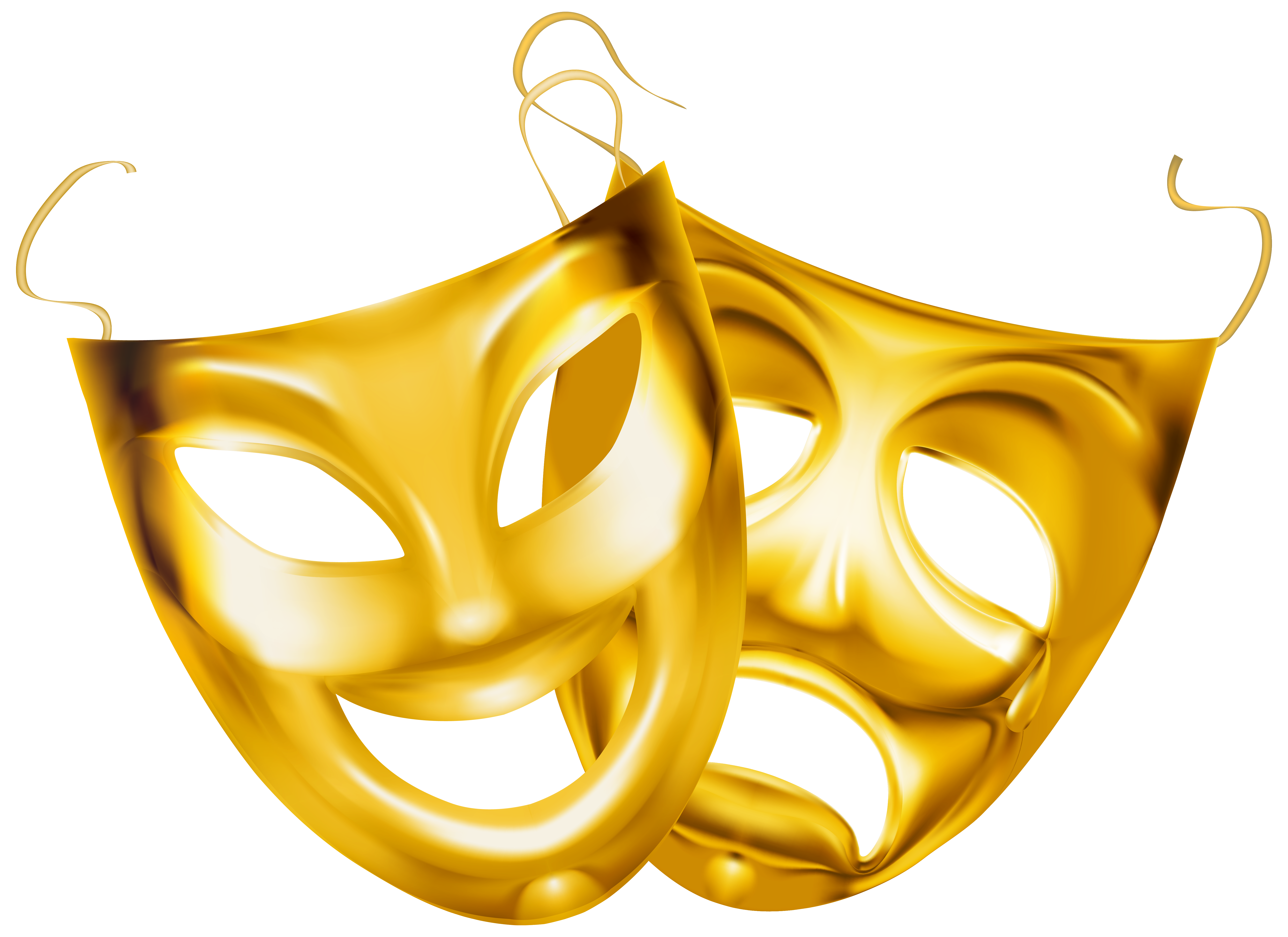 Gold Theater Masks PNG Clipart Image.