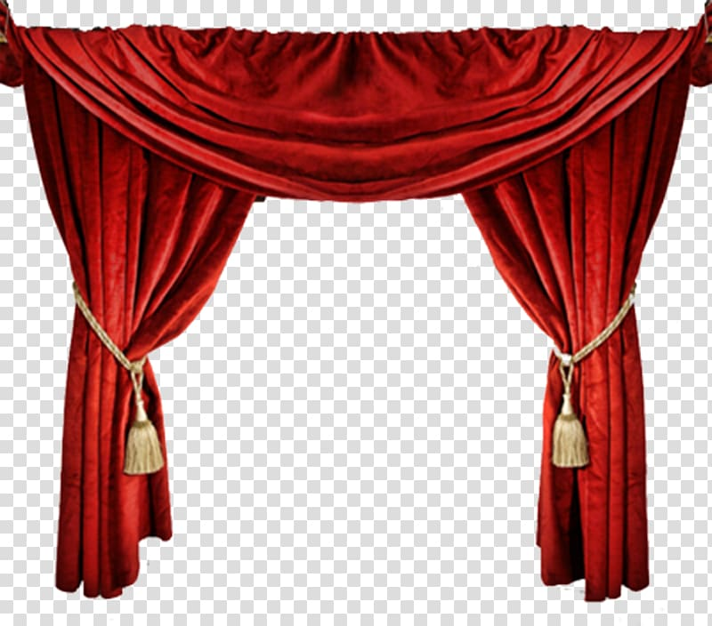 Window Theater drapes and stage curtains Light, red curtain.