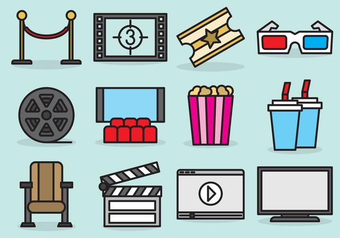 Cute Movie Theater Icons.