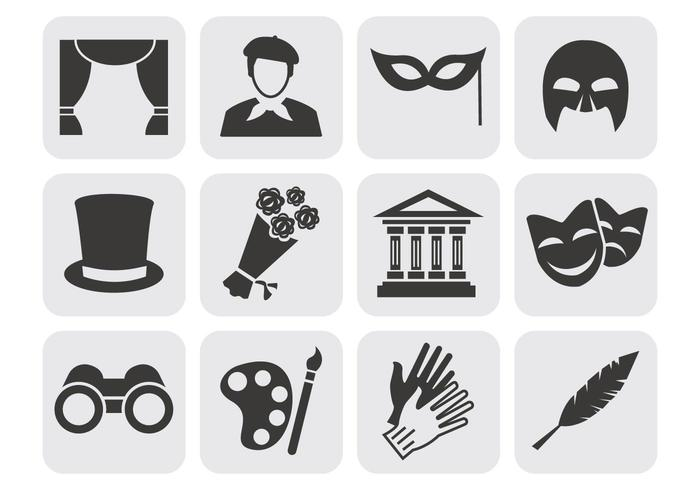 Theater Acting Perform Icons Vector.