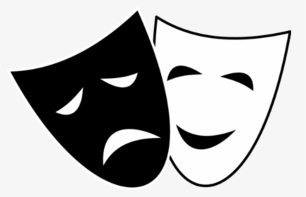 Vector Illustration Of Comedy And Drama Masks With.