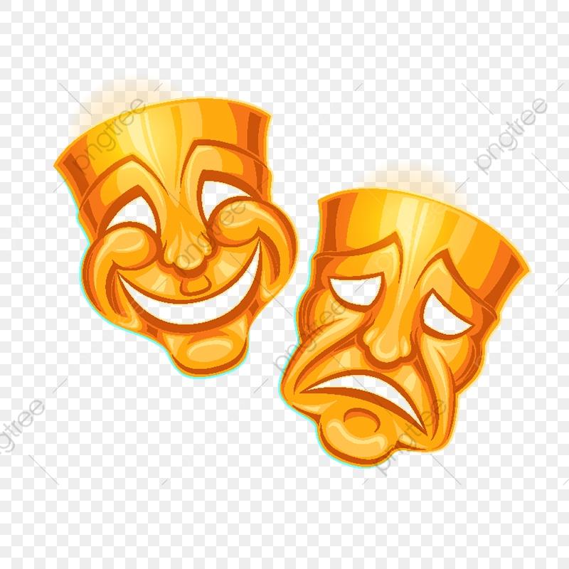 Golden Comic And Tragic Theater Mask, Symbol, Sadness.