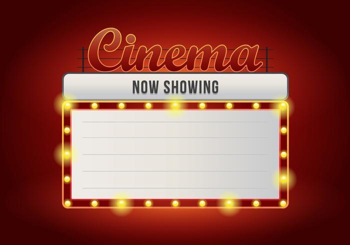 Realistic Vintage Cinema Signs. Retro Vintage Cinema Lighted.