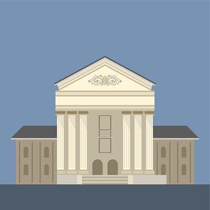 Exterior Of Classic Theatre Building Clipart Image.