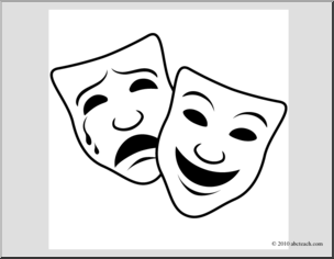 Clip Art: Comedy and Tragedy Masks 1 (coloring page.