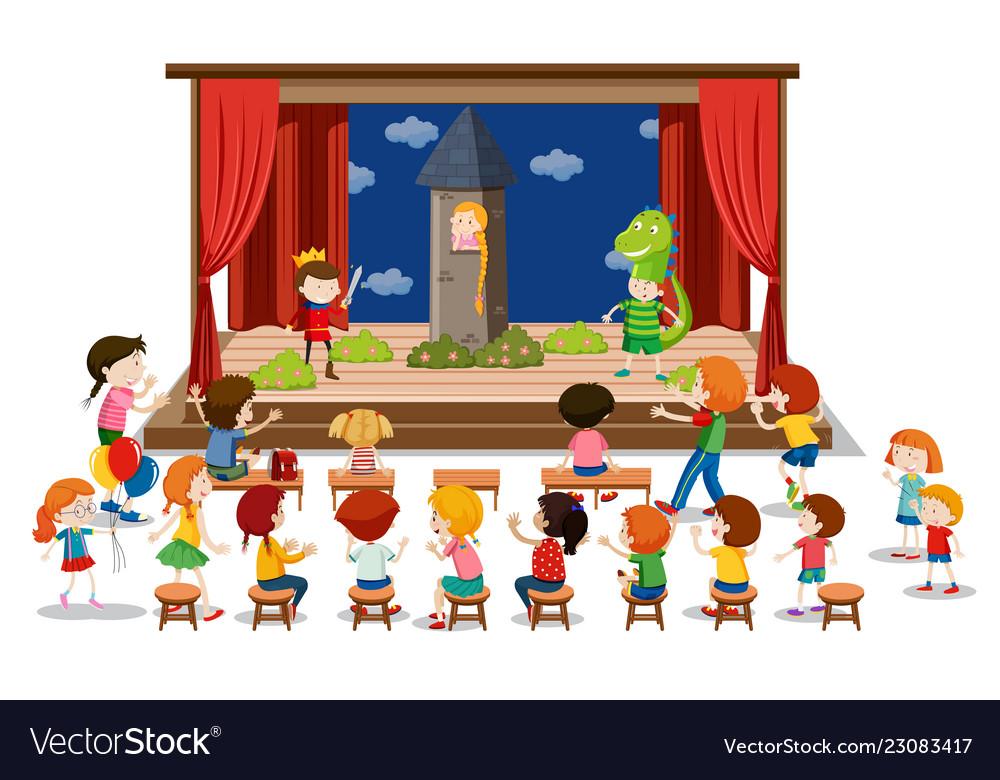 Children play drama on stage.