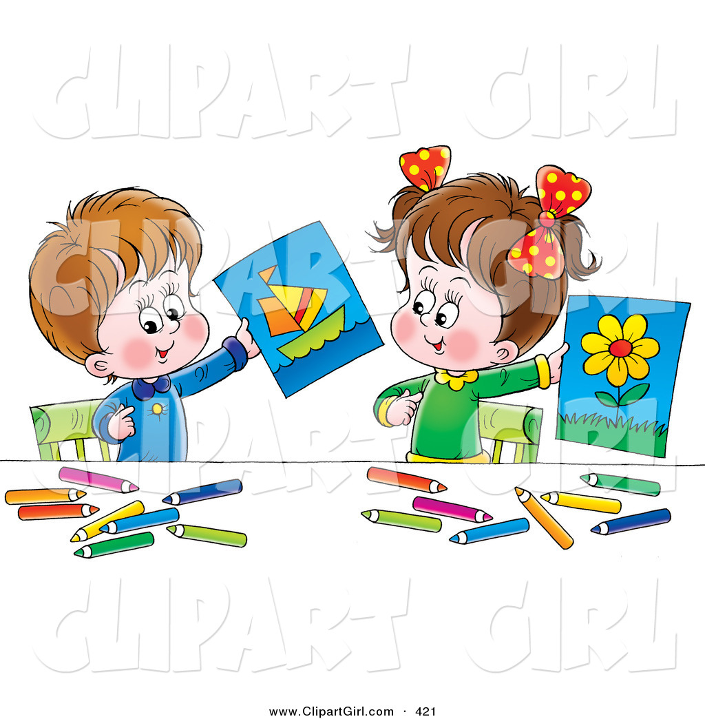 Clip Art of a Little Boy and Girl Holding up Their Drawings of a.
