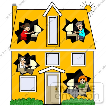Clip Art Graphic of Parents And Their Children In Different Rooms.