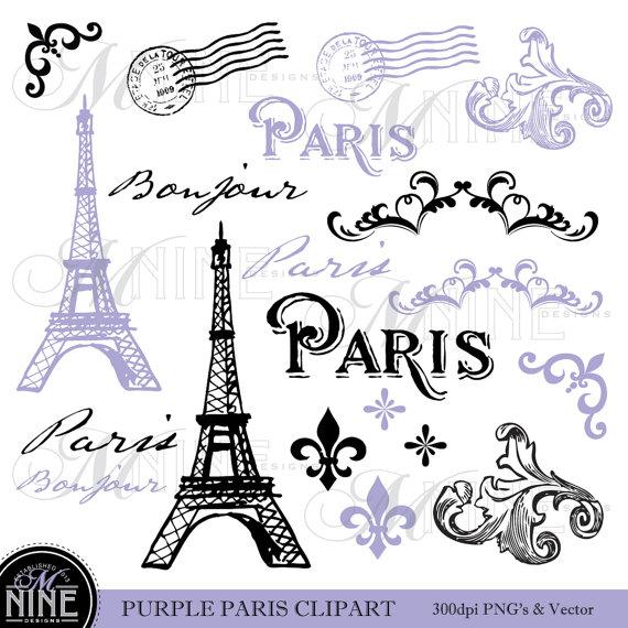 Paris Clip Art: PURPLE PARIS Theme Clipart Vintage Paris Clipart.
