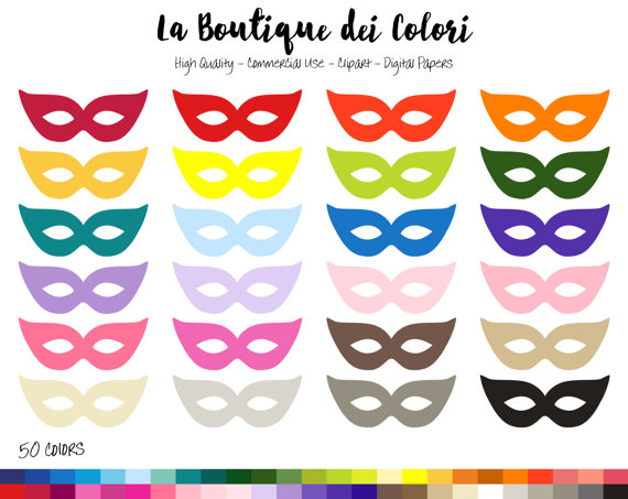 50 Mask Clip art, Graphics PNG, Mardi Gras, Carnival, Party.