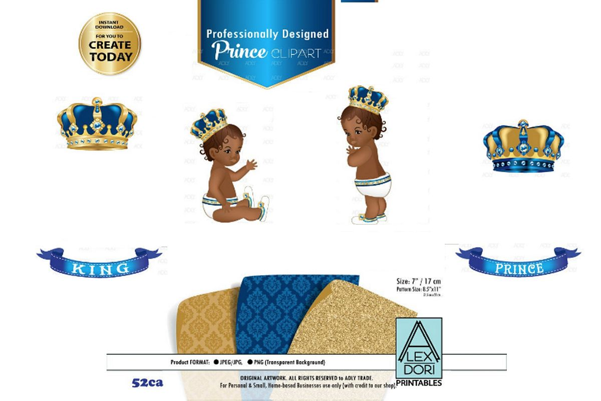 Blue and Gold Baby PrinceKing Royal Digital Clipart,Crown.