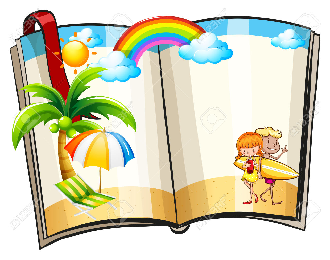 Open Book With Summer Theme Design Royalty Free Cliparts, Vectors.