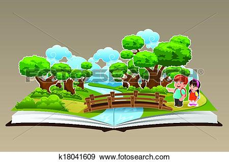 Clip Art of Pop Up Book with a Forest Theme k18041609.