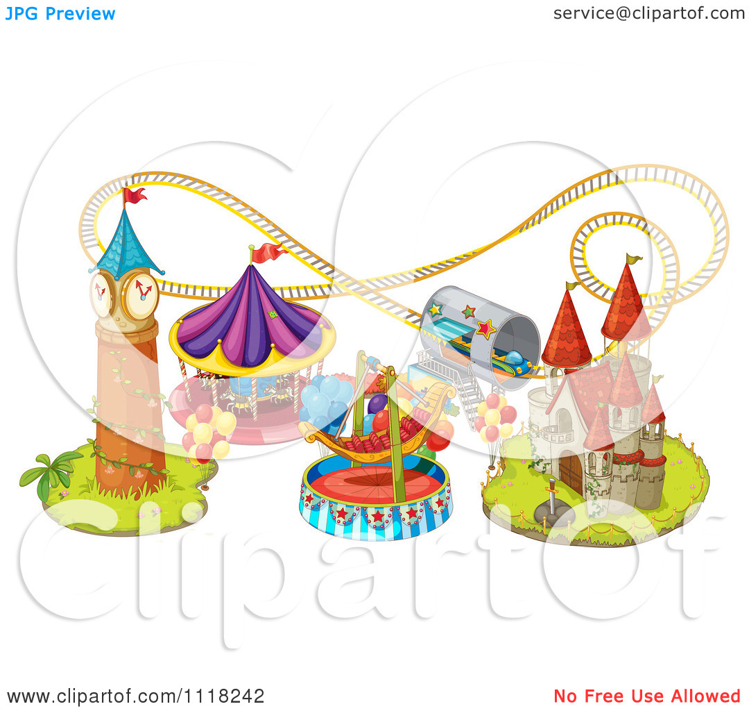 Vector Clipart Of Amusement Park Rides And A Roller Coaster.