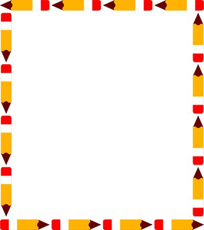 Image of School Supply Clipart Borders #8789, Education Theme.