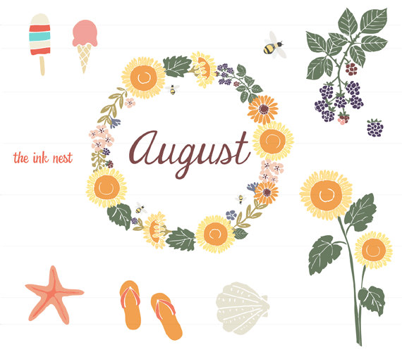 Clip Art August Themes Clipart.
