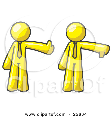 Clipart Illustration of a Yellow Business Man Giving the Thumbs Up.