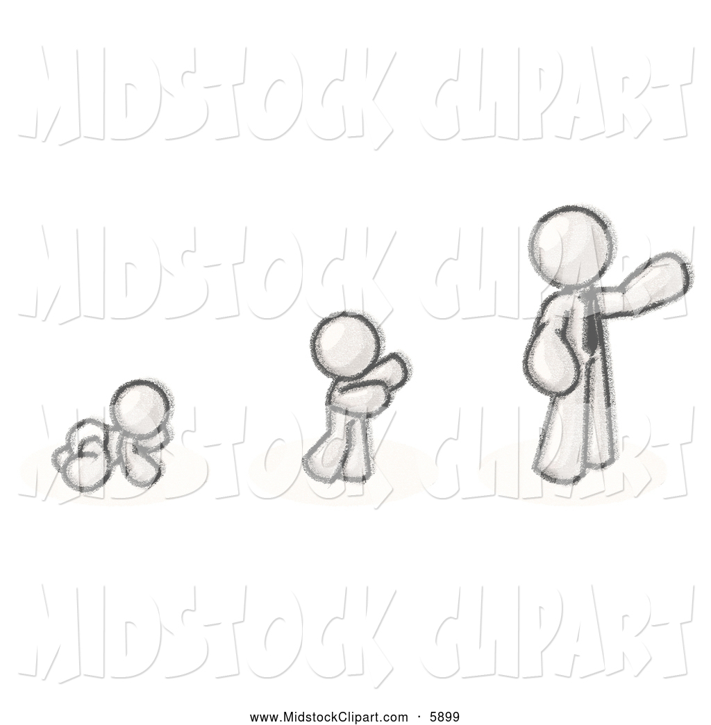 Art of a Sketched Design Mascot Man in His Growth Stages of Life.