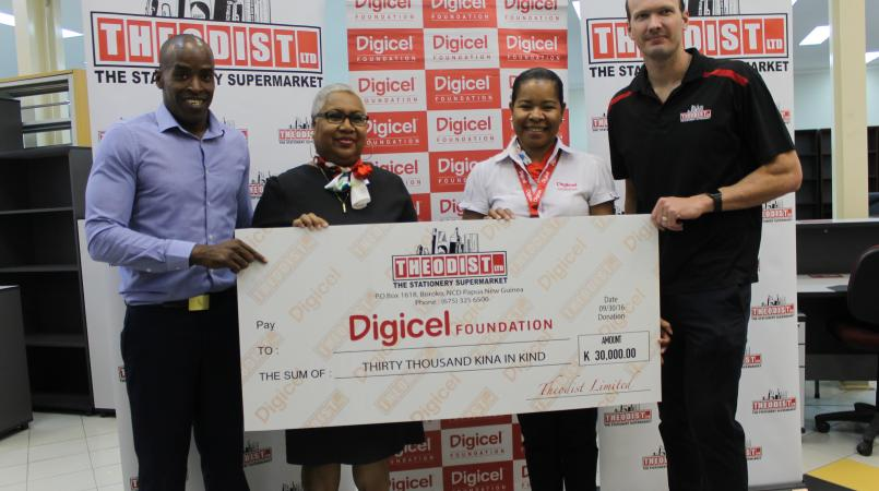Theodist donates K30, 000 worth of diaries to Digicel.