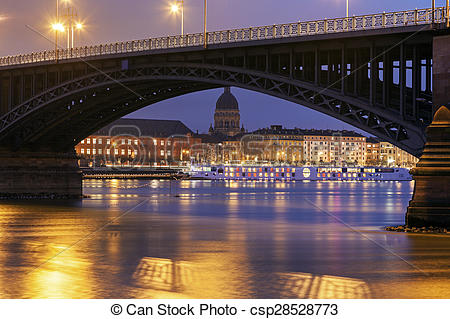 Picture of Theodor Heuss Bridge and Christuskirche. Mainz.