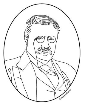 Theodore Roosevelt (26th President) Clip Art, Coloring Page or.