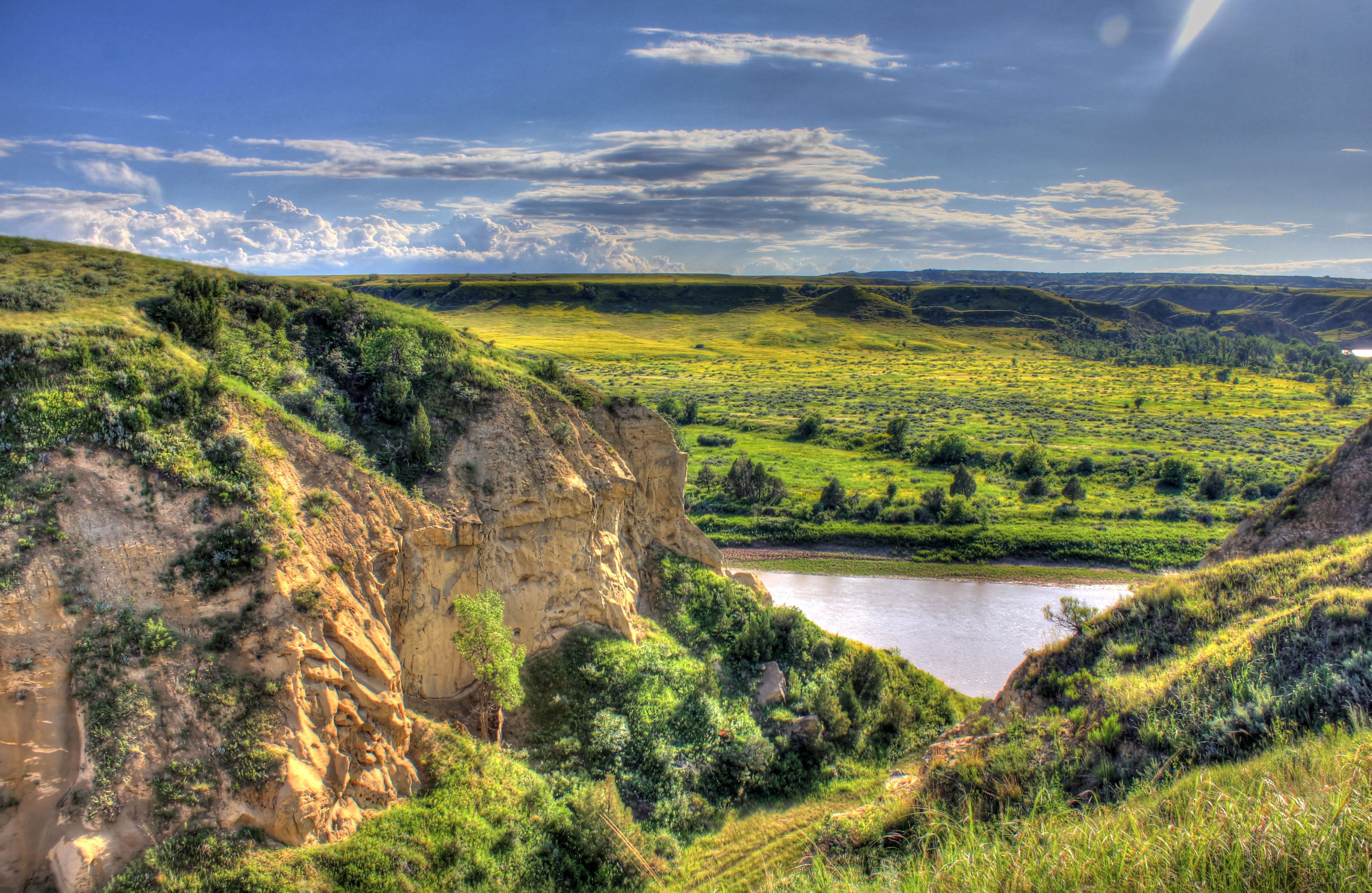 Landscape across the river at Theodore Roosevelt National Park.