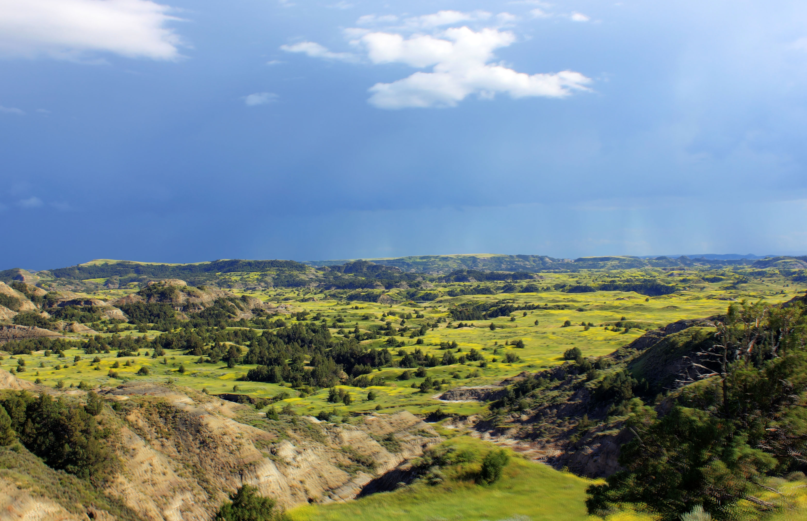 Rain in the valley at Theodore Roosevelt National Park, North.