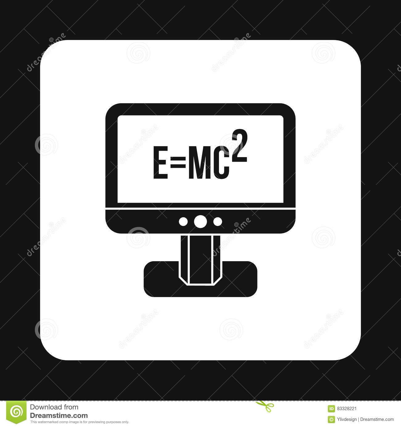 Monitor With The Theory Of Relativity Formula Icon Stock Vector.