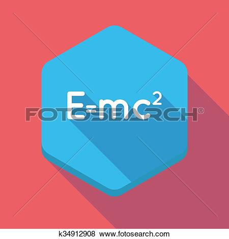 Clip Art of Long shadow hexagon icon with the Theory of Relativity.