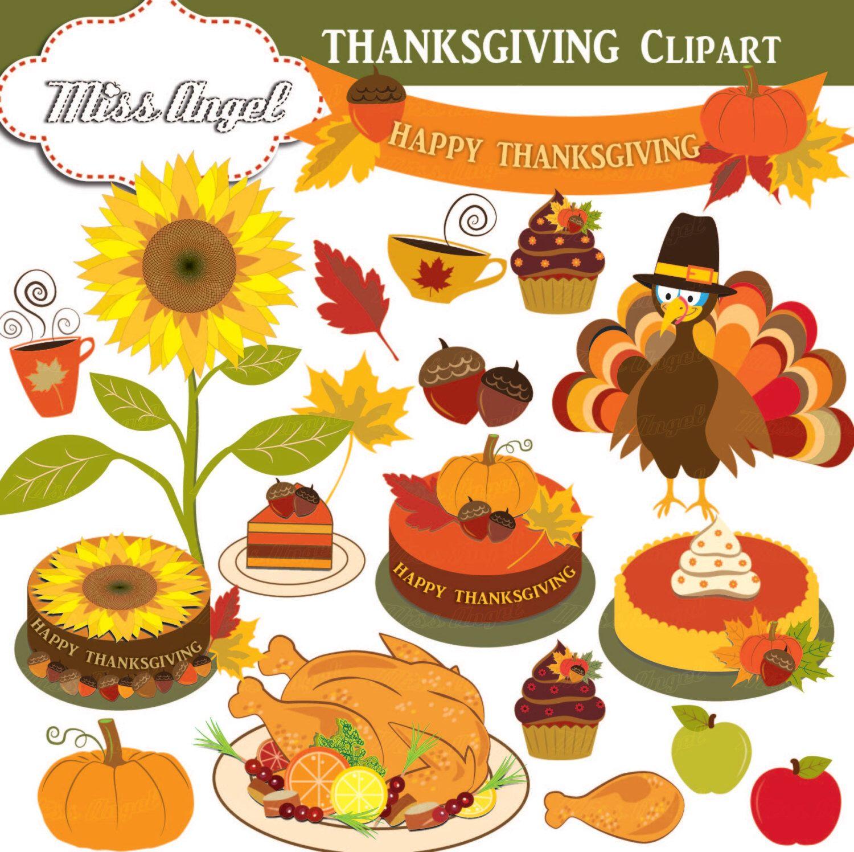 Thanksgiving clipart. Fall Autumn Digital Thanksgiving.